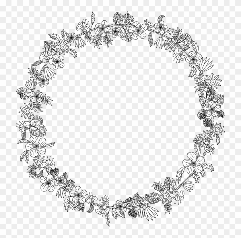 Line Art Wreath Art Nouveau Ornament.