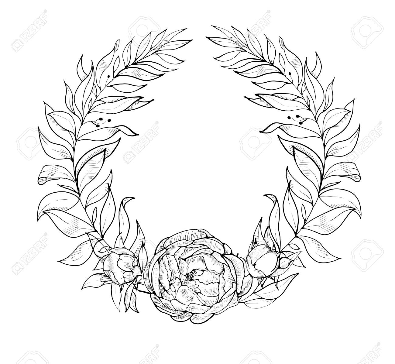 Floral wreath. Black and white. Good for wedding card, invitation,...