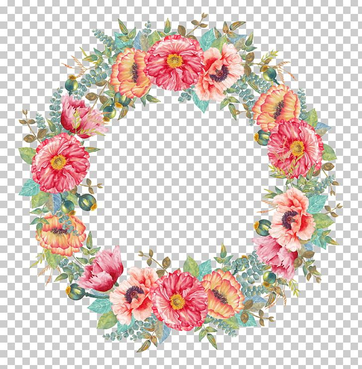 Flower Wreath Watercolor Painting PNG, Clipart, Artificial Flower.