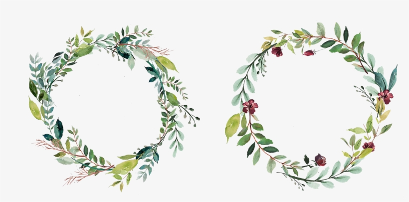 Watercolor Flower Wreaths And Frames Png.
