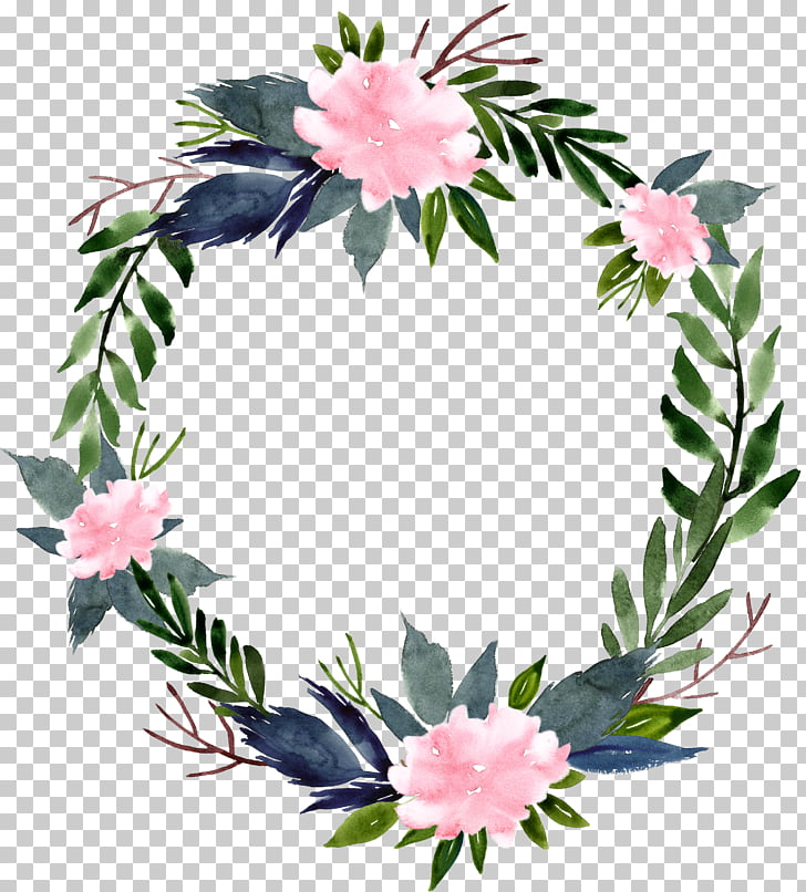 Flower Wreath , Watercolor flower ring round border, blue.