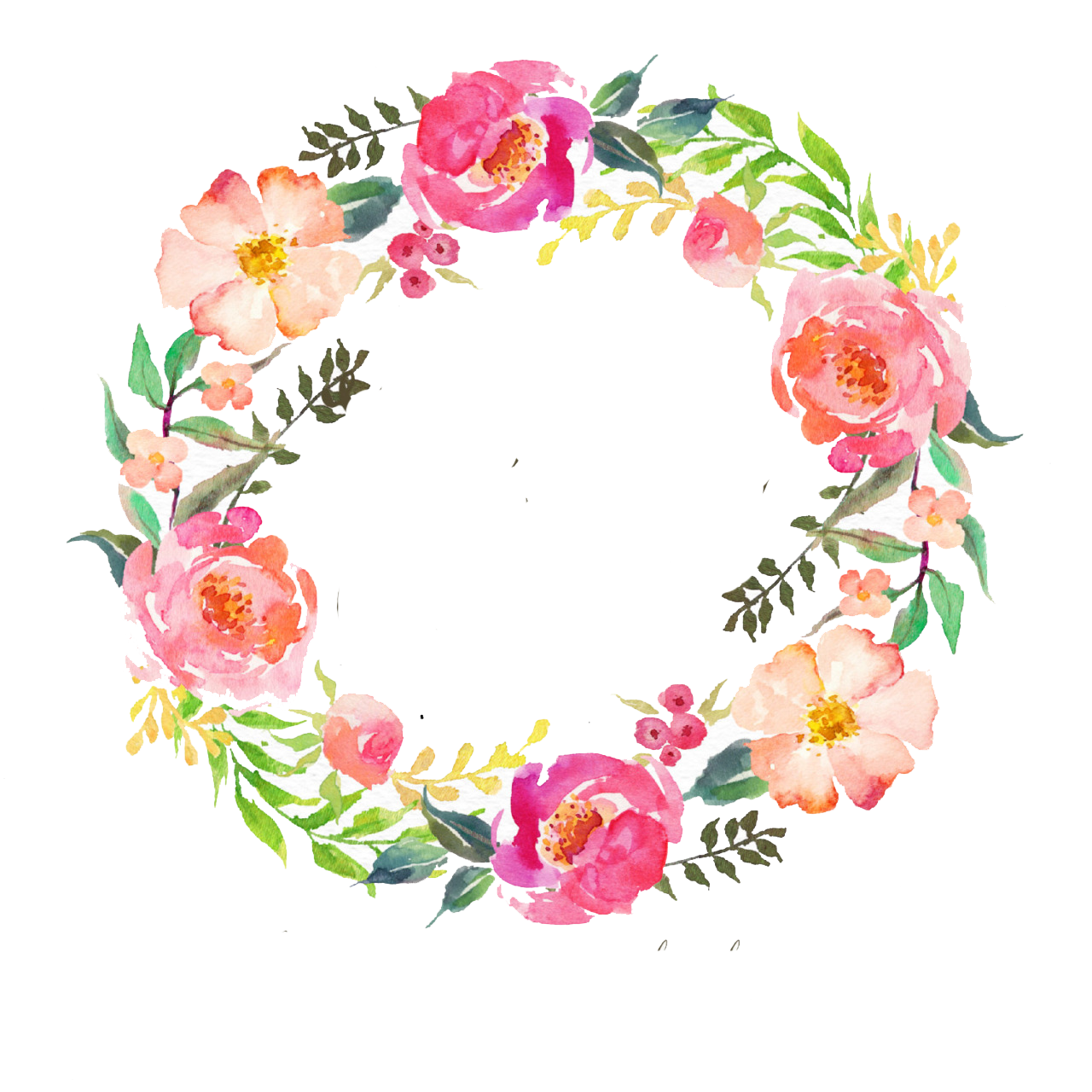 Watercolour Flowers Wreath Watercolor painting Garland.