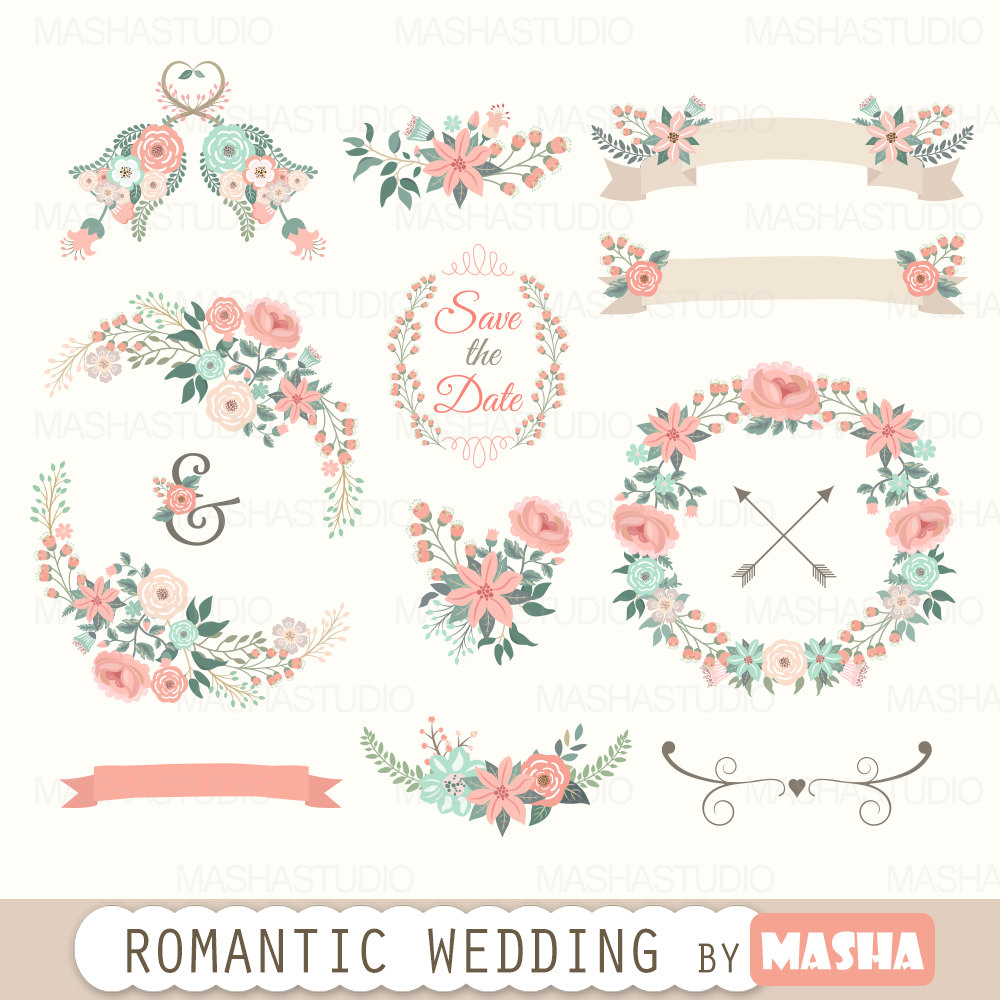 Floral clipart etsy.