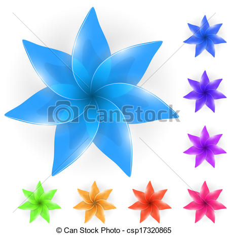 Clip Art Vector of Abstract color glass flower bud isolated on.
