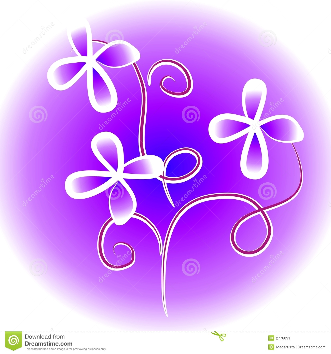 Purple Flowers Clip Art Stock Image.
