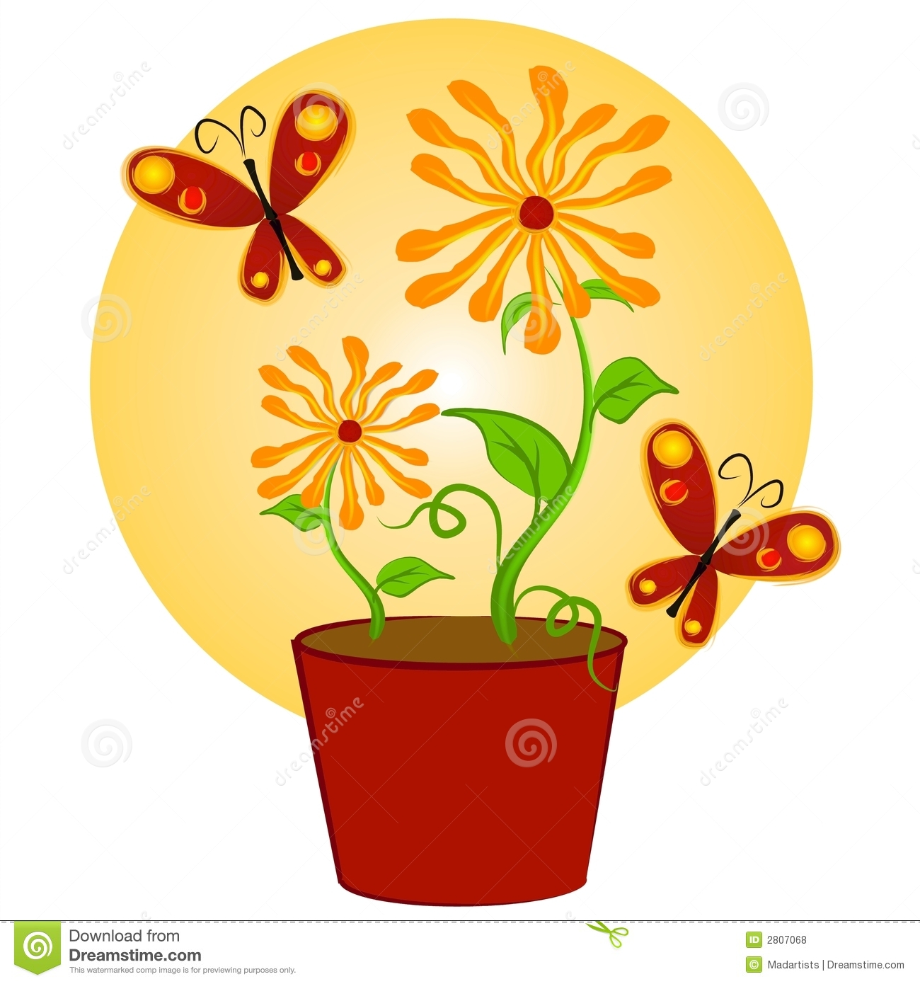 Butterflies Flowers Clip Art 1 Royalty Free Stock Photo.