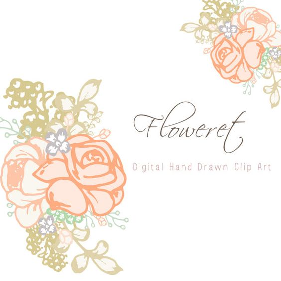 Hand+drawn+florals+digital+clip+art++Floweret+by+CreateTheCut,+.