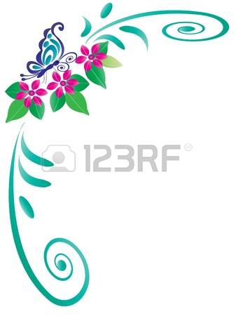 Floral Flower Fly Frame Cliparts, Stock Vector And Royalty Free.