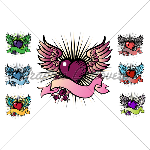 7 Tattoo Style Emblems · GL Stock Images.