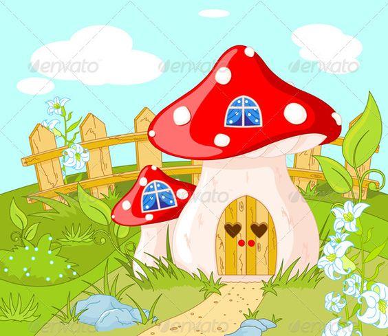 House of Gnome  amanita, art, background, cartoon, cloud.