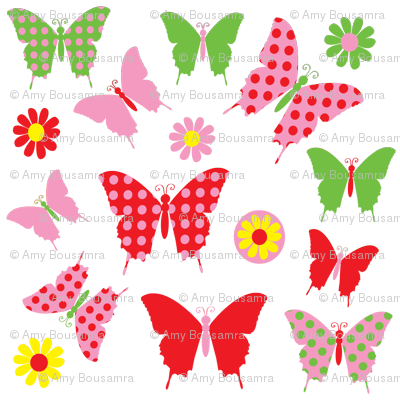 butterfly flower fly fabric.