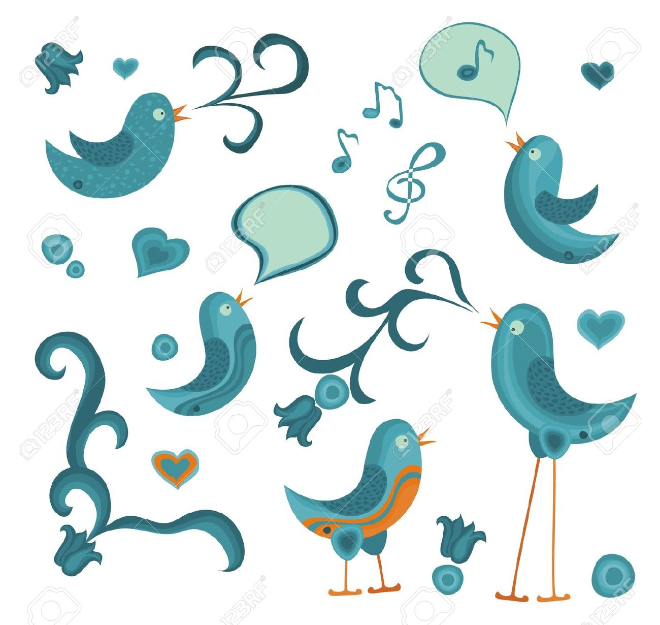 Cute Tweet Birds With Other Graphic Elements Royalty Free Cliparts.