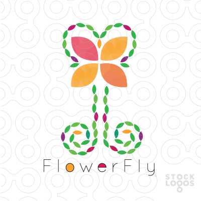 Exclusive Customizable Logo For Sale: Flower Fly.