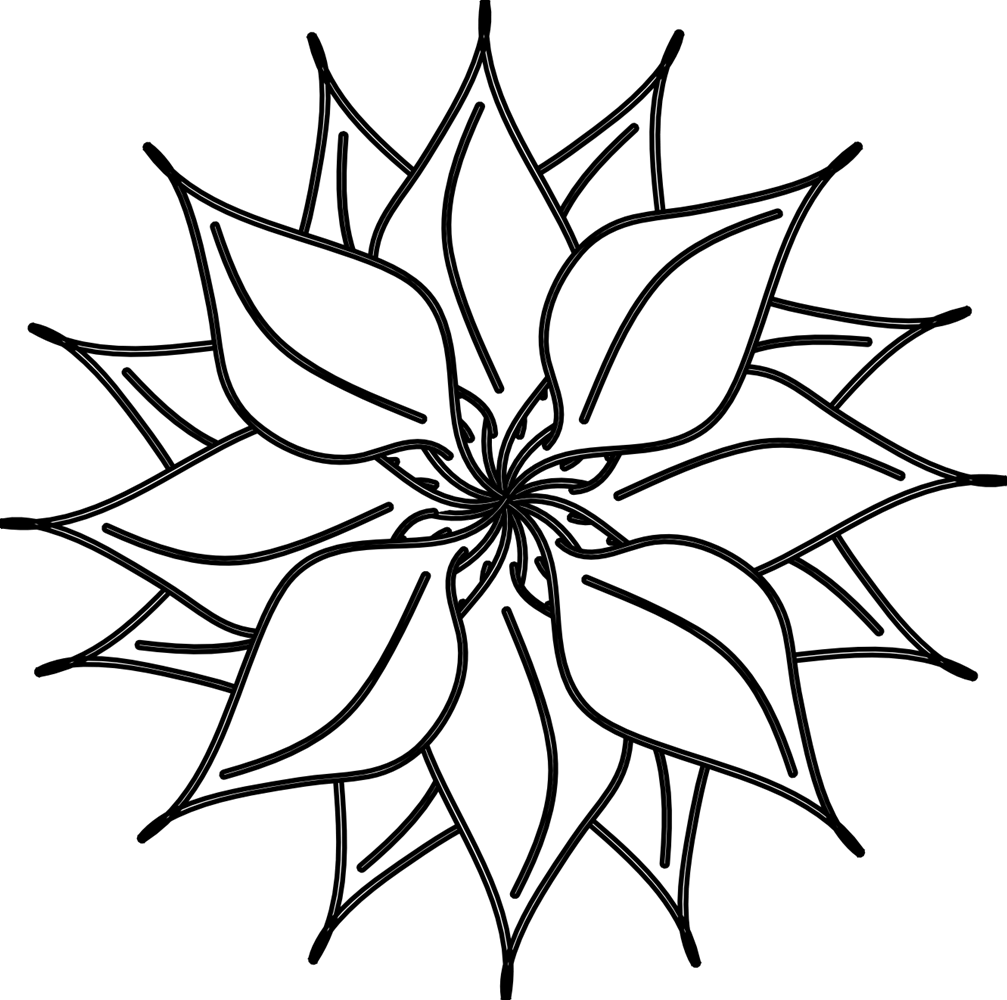 Black and white flower head clipart.