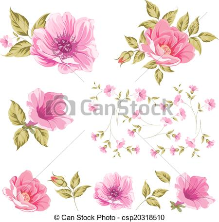 Vector Clip Art of Collection set of flower heads..