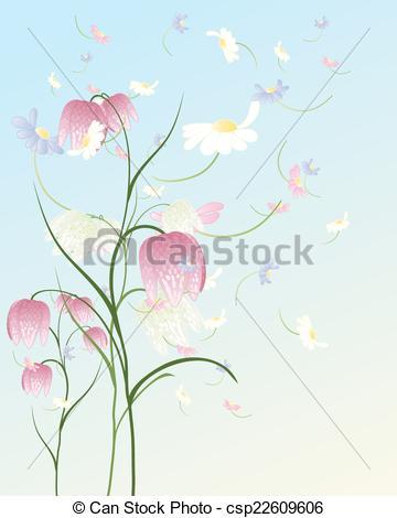 Vector Clipart of flower heads.