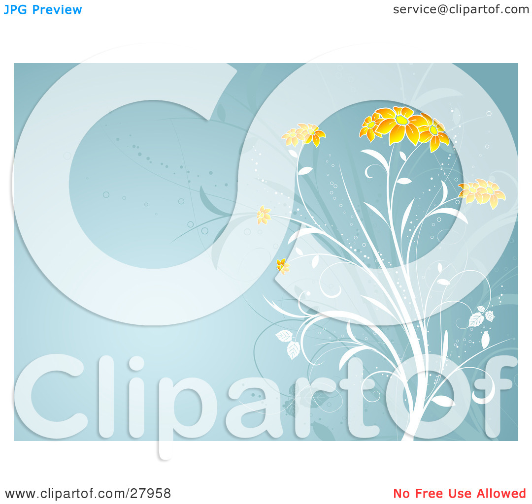 Clipart Illustration of a White Plant With Beautiful Orange Flower.