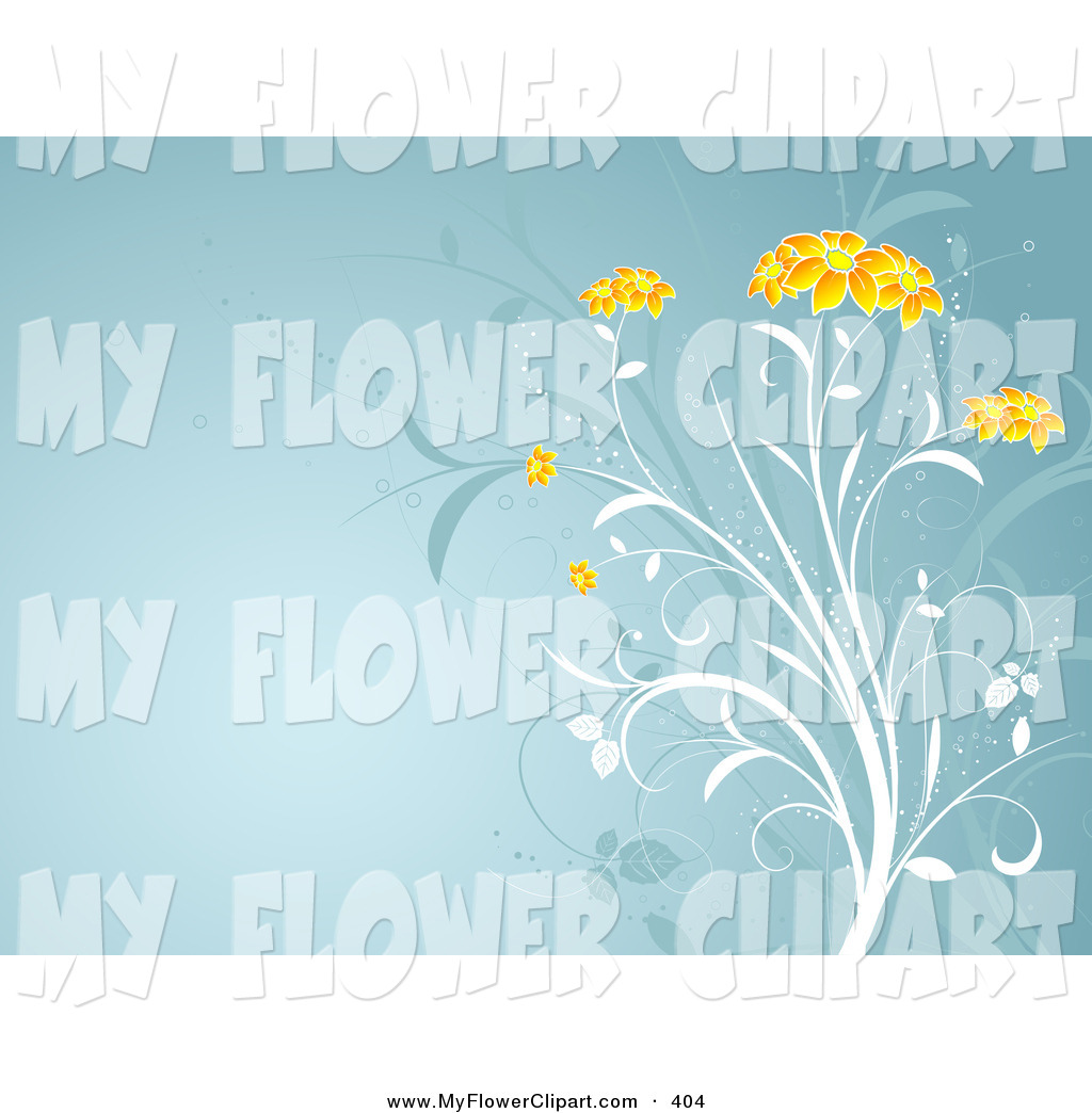 Clip Art of a White Plant with Beautiful Orange Flower Heads.