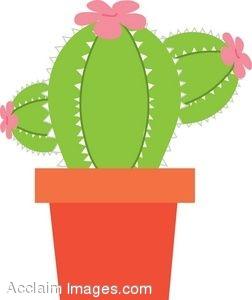 Flowering Cactus in a Pot Clip Art.