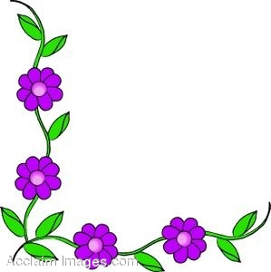 Clip Art of a Corner Border of Flowers.