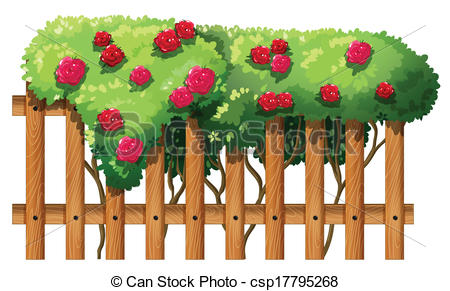 Clip Art Vector of A flowering plant with a fence.