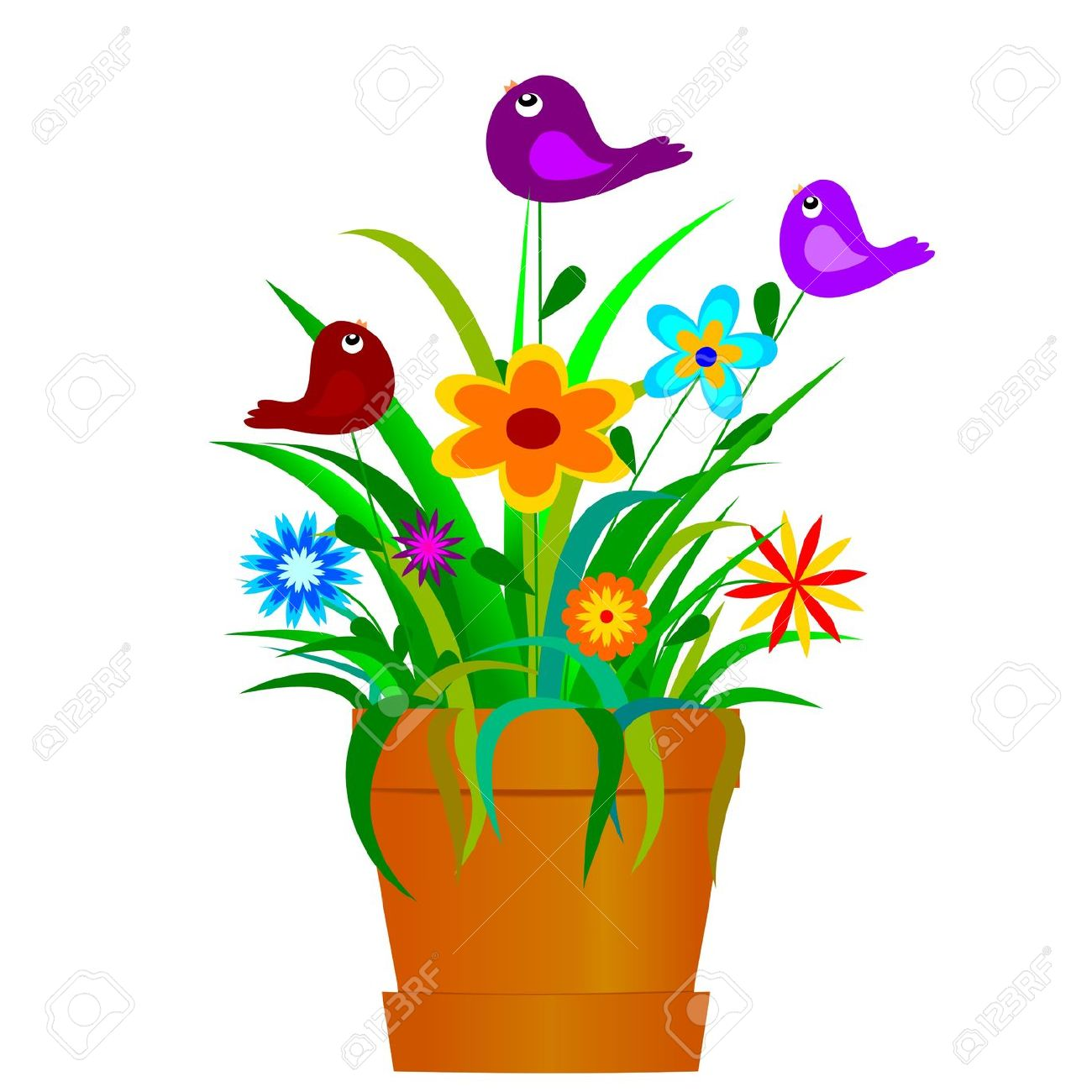 Pot Full Of Colorful Spring Flowers And Birds Royalty Free.
