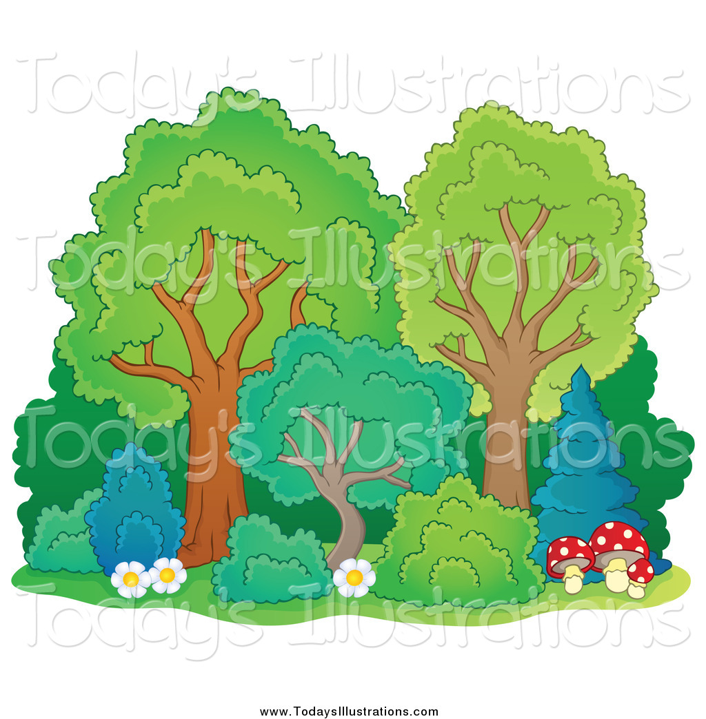 Clipart of a Mature Trees with Shrubs Flowers and Mushrooms by.
