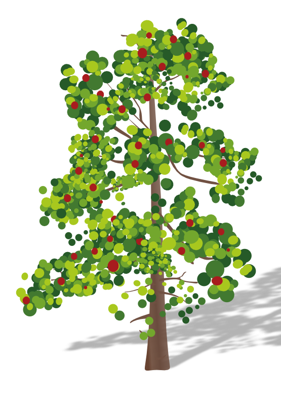 Tree clipart with flower.