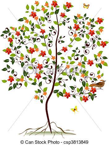 EPS Vectors of young flowering tree csp3813849.