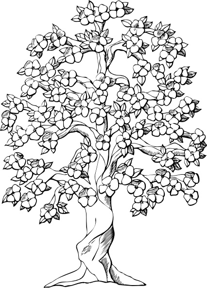 Flowering Tree clip art Free vector in Open office drawing svg.