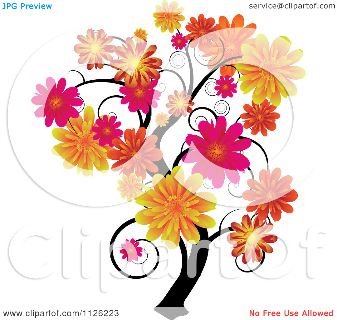 Clipart Of A Tree With Swirl Branches And Flowers.