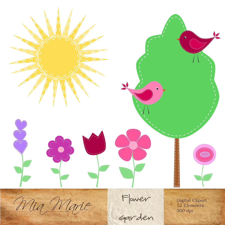 Birds Trees Flowers Clipart.