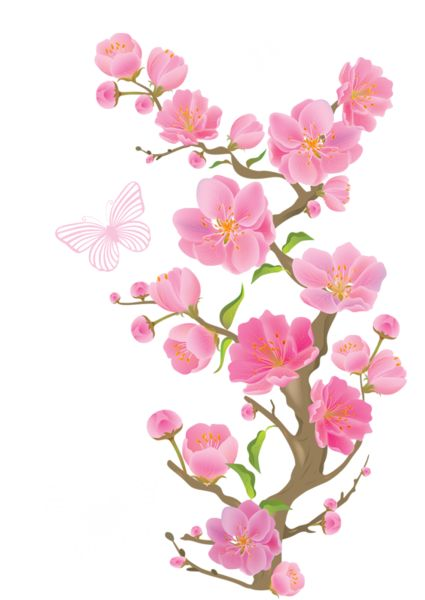 Spring Branch with Butterflies PNG Clipart Picture.