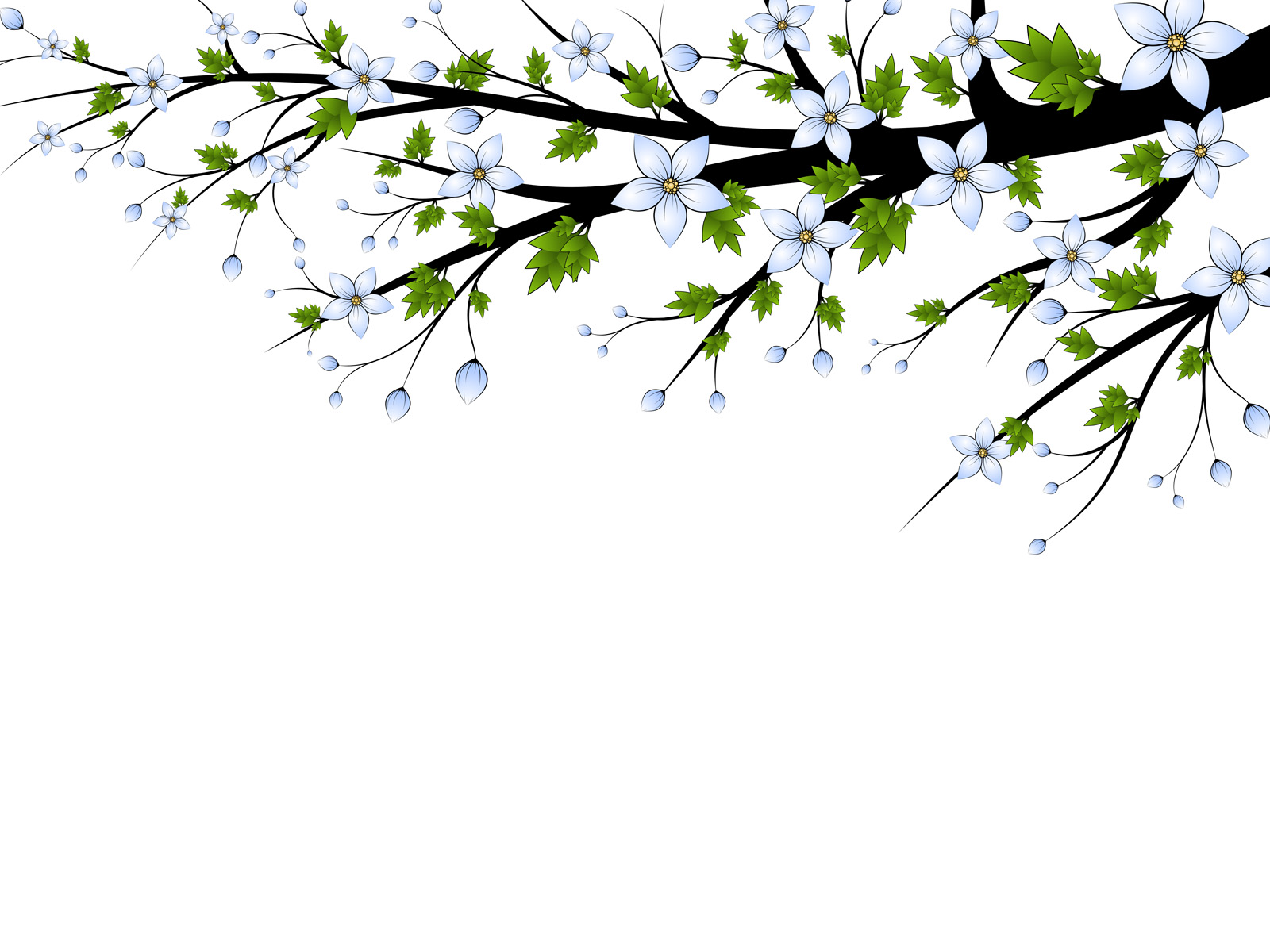 Blue flowers branch PPT Backgrounds Template for Presentation.