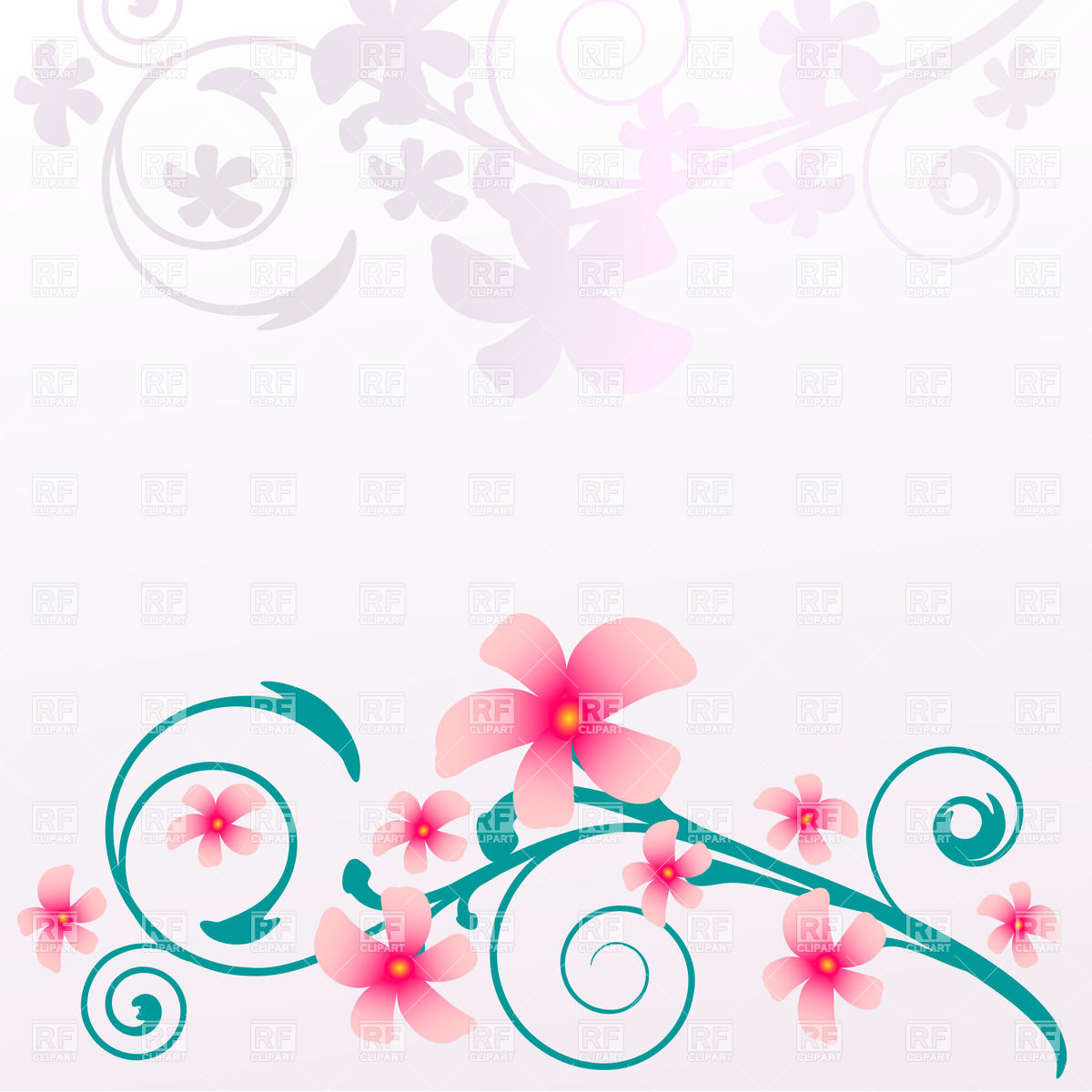 Curly twig with blooming pink flowers Vector Image #23335.