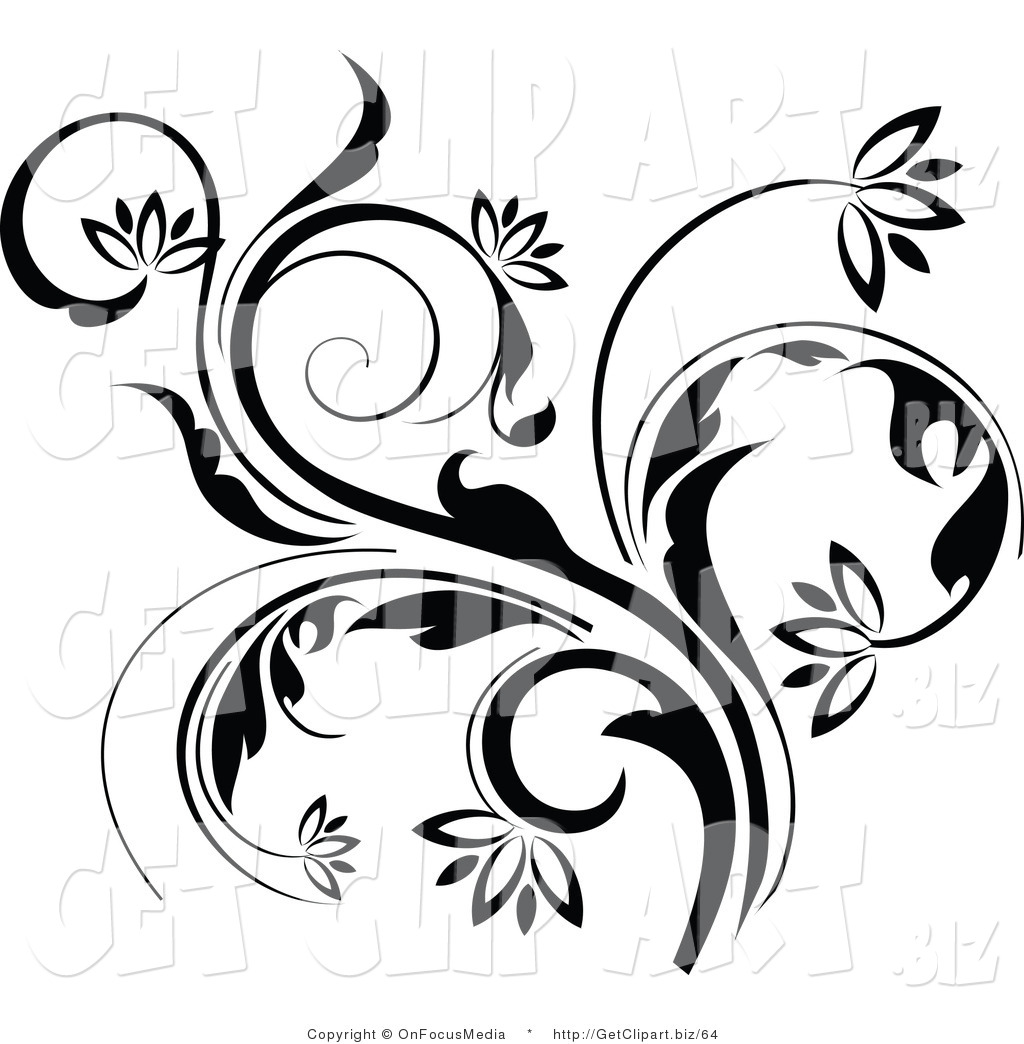 Clip Art of a Black Curling Flowering Vine Accent Flowing up by.