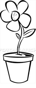 Flower Pot Clipart Black And White.