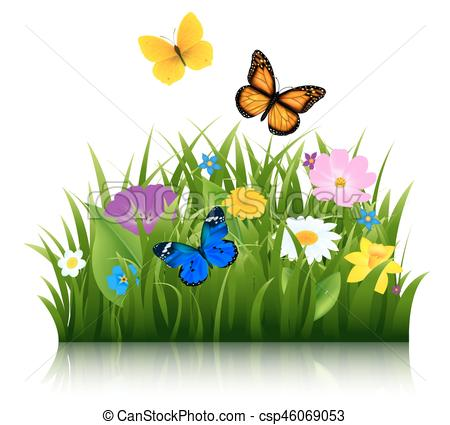 Summer Flowers With Butterfly.