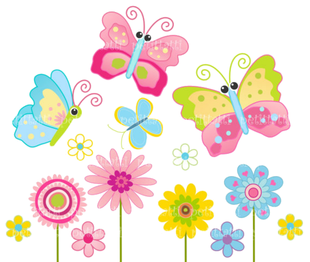 Flowers And Butterflies Clipart.