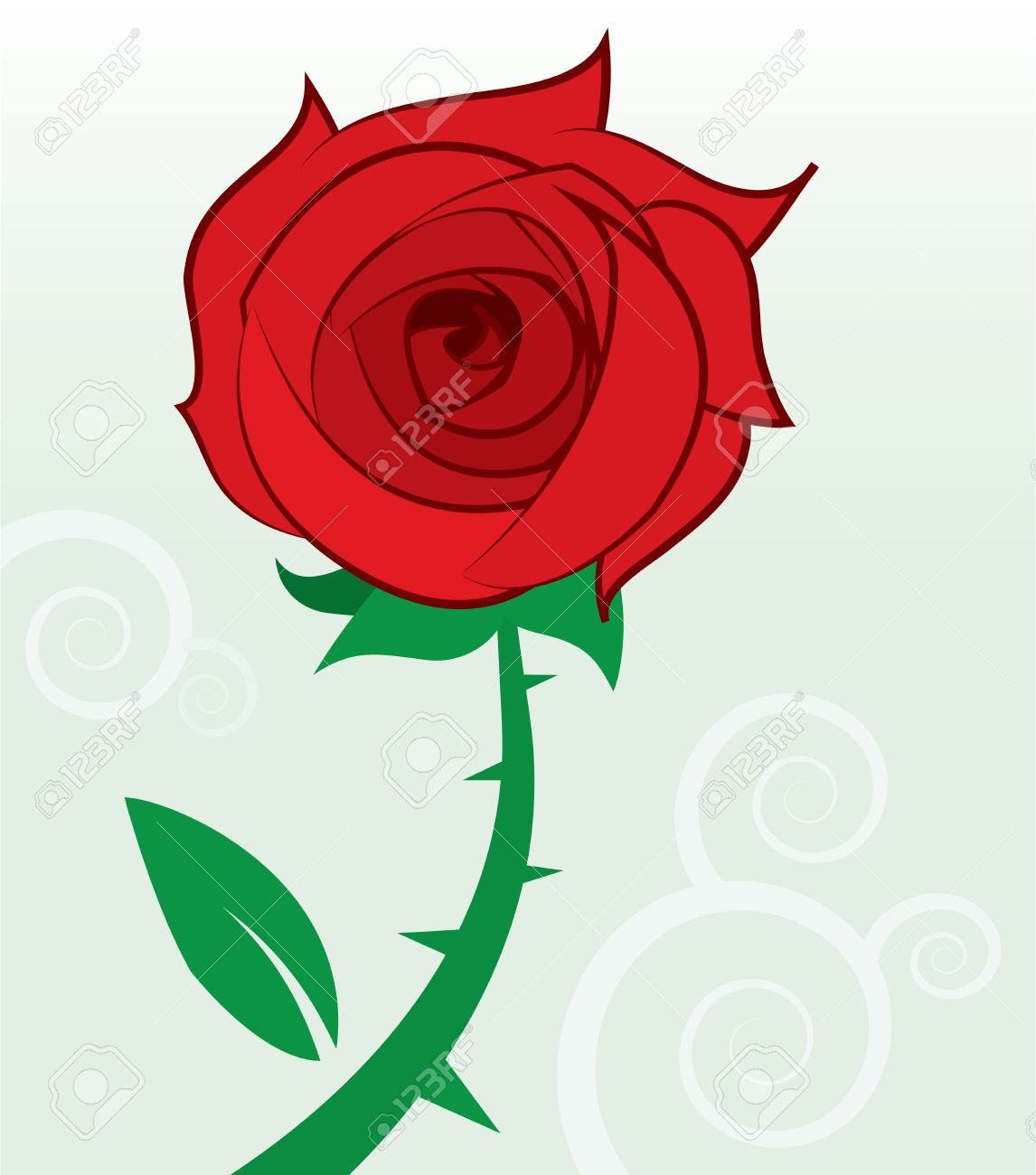 Single Red Rose With Thorns And Leaf Royalty Free Cliparts.