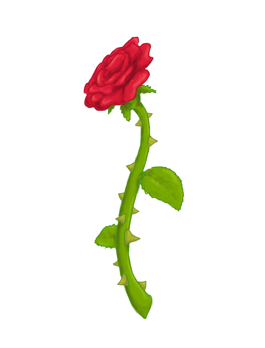 Rose with thorns clipart.