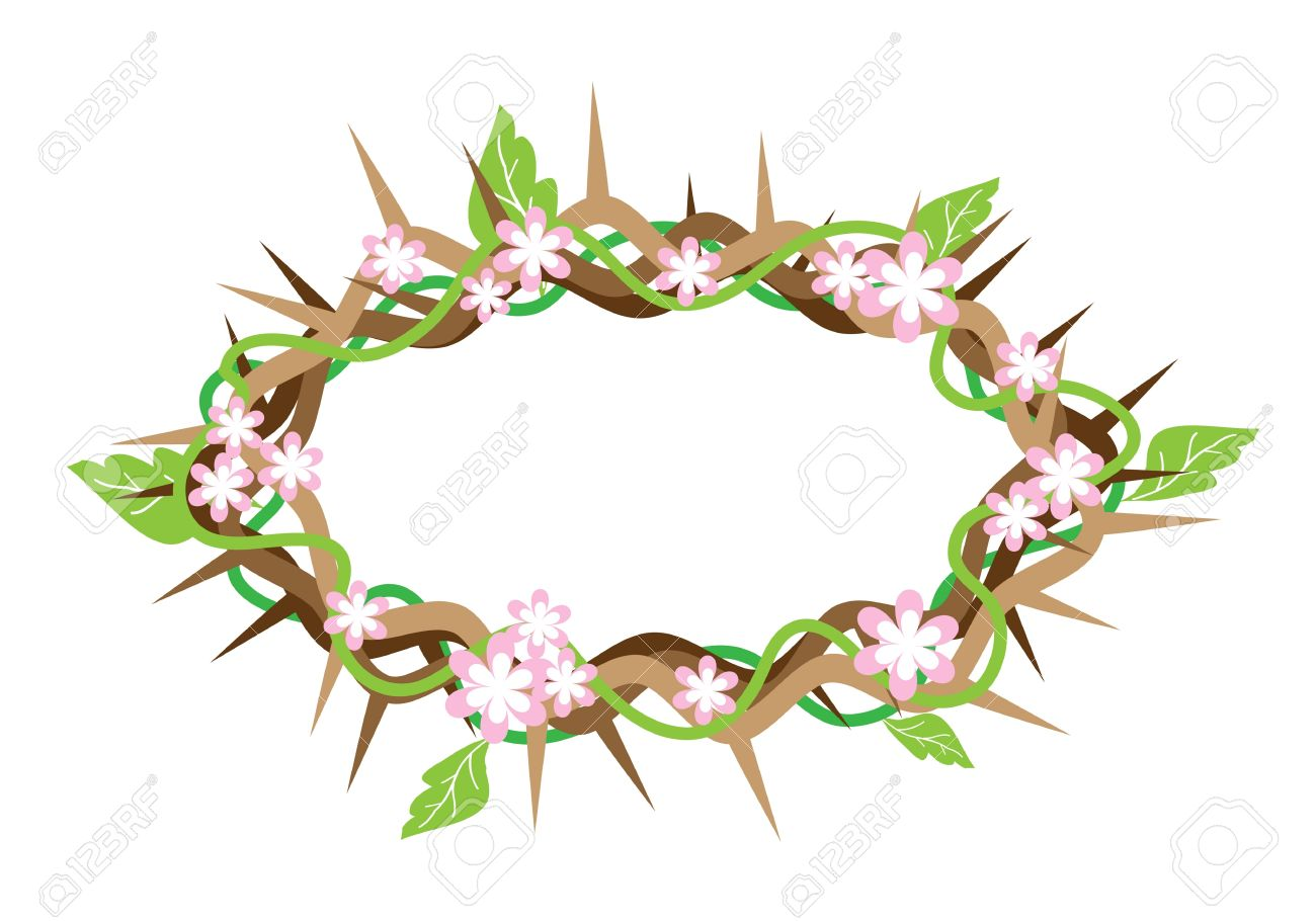 An Illustration Of Crown Of Thorns With Fresh Green Leaves And.