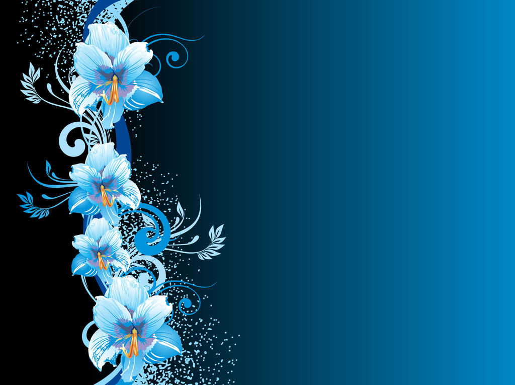 Blue Flowers Background.