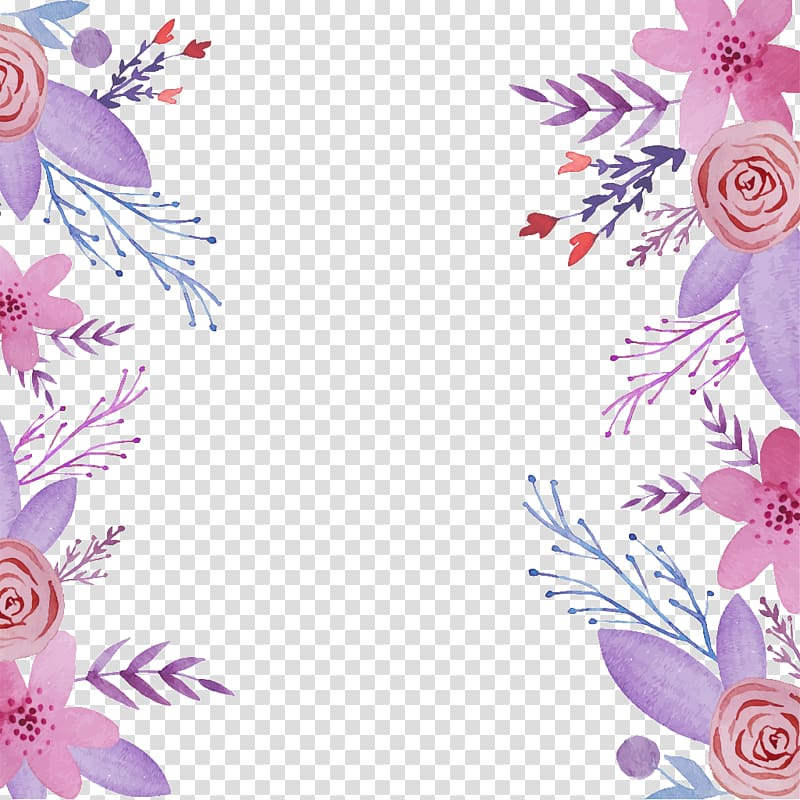 Pink and purple flowers border, Flower , Elegant purple.