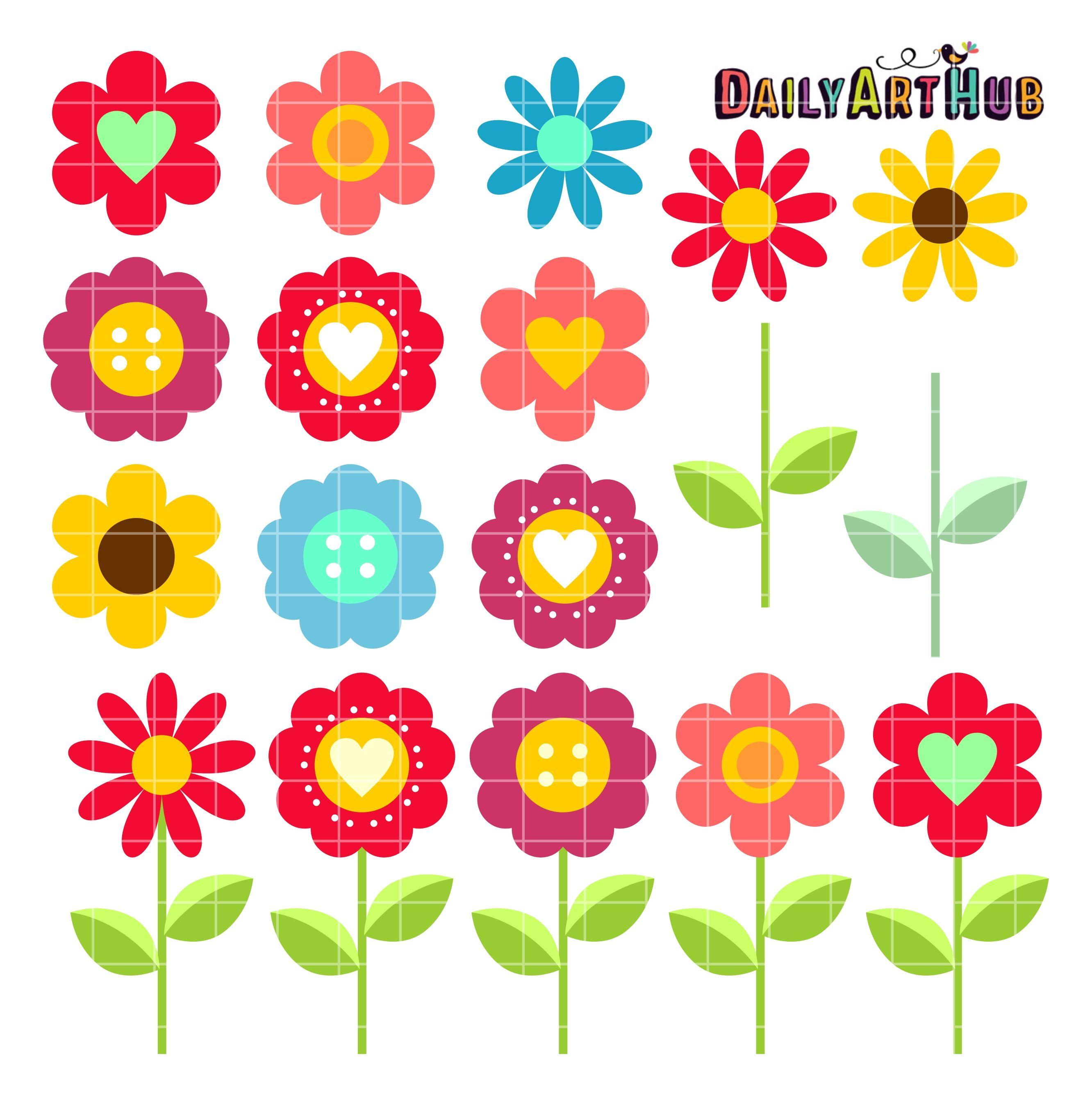 Flower Blooms Clip Art Set.