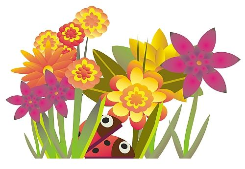 August Flower Clipart.