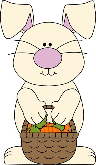 Easter Bunny Holding A Carrot Clipart With Flowers.