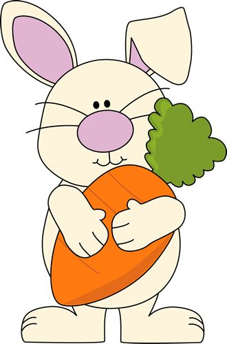 Easter bunny holding a carrot clipart with flowers and sunny skies.