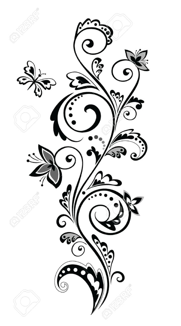 Black And White Flower Border.