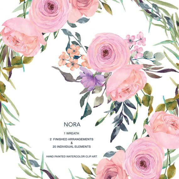 Pink Blush Watercolor Flowers Clipart.